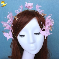 Gold Plated Butterfly Dragonfly With Leaves Bridal Crown Feather Fabric Flower Headdress Wedding Hair Accessories Tiara