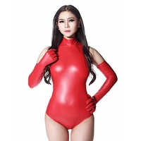 Sexy Latex Women Tight Bodysuit Sleeveless High necked Bodysuits Catsuit Back Open Zipper Pole Dancing Costume Exotic Apparel