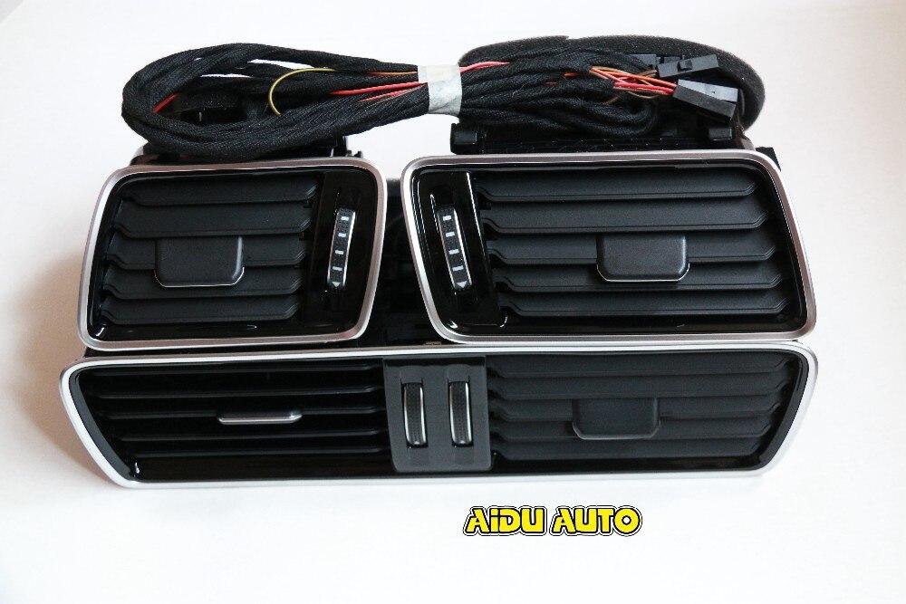 FOR VW LHD Passat B6 B7 CC R36 Chrome Piano Black Air Vent LED Red Light