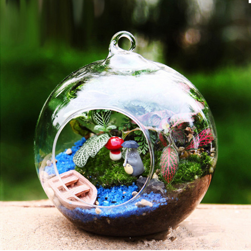 New transparent ball shape clear hanging glass vase flower for Boules lumineuses jardin