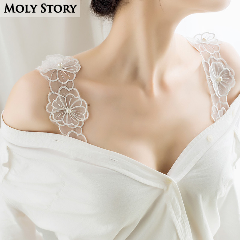 6029808dc7 Detail Feedback Questions about Decorative Cute Big Flower Pearl Lace Bra  Straps Replacement Underwear Belt Women Intimate Bra Accessories Shoulder  Straps ...