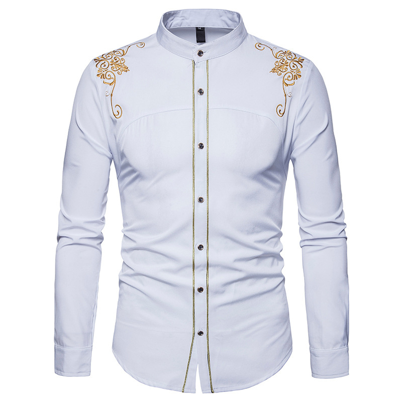 Stand Collar Satin Smooth Men Shirt 2019 Brand Gold Flower Embroidery Button Down Long Sleeve Slim Casual Shirts Chemise Homme