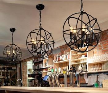 Utara Loft Style Retro Hitam Iron Globe Pendant Light Desa Industri Kopi Toko Restoran Bar Menggantung Lampu Lampu Gantung