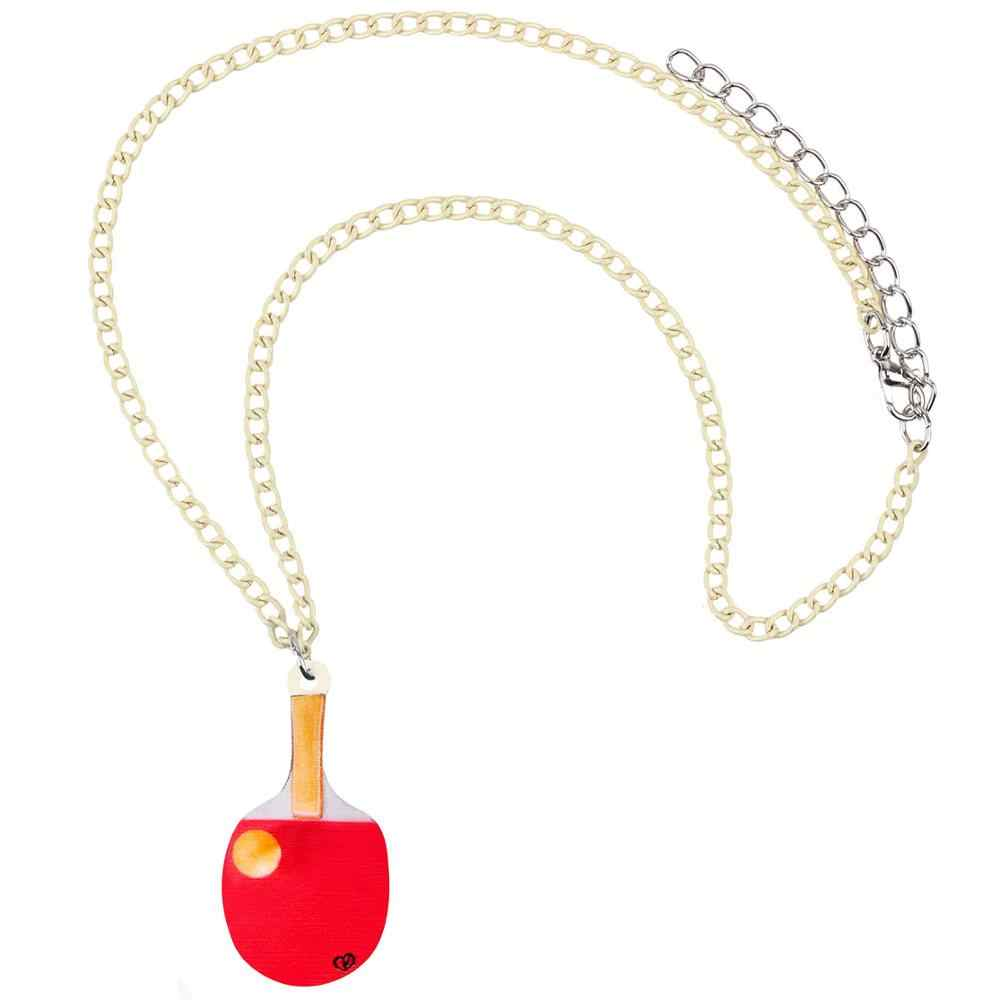 Bonsny Acrylic Table Tennis Ball Pendant Necklace Chain Choker Summer Hipster Jewelry For Women Girls Teens Party Gift New