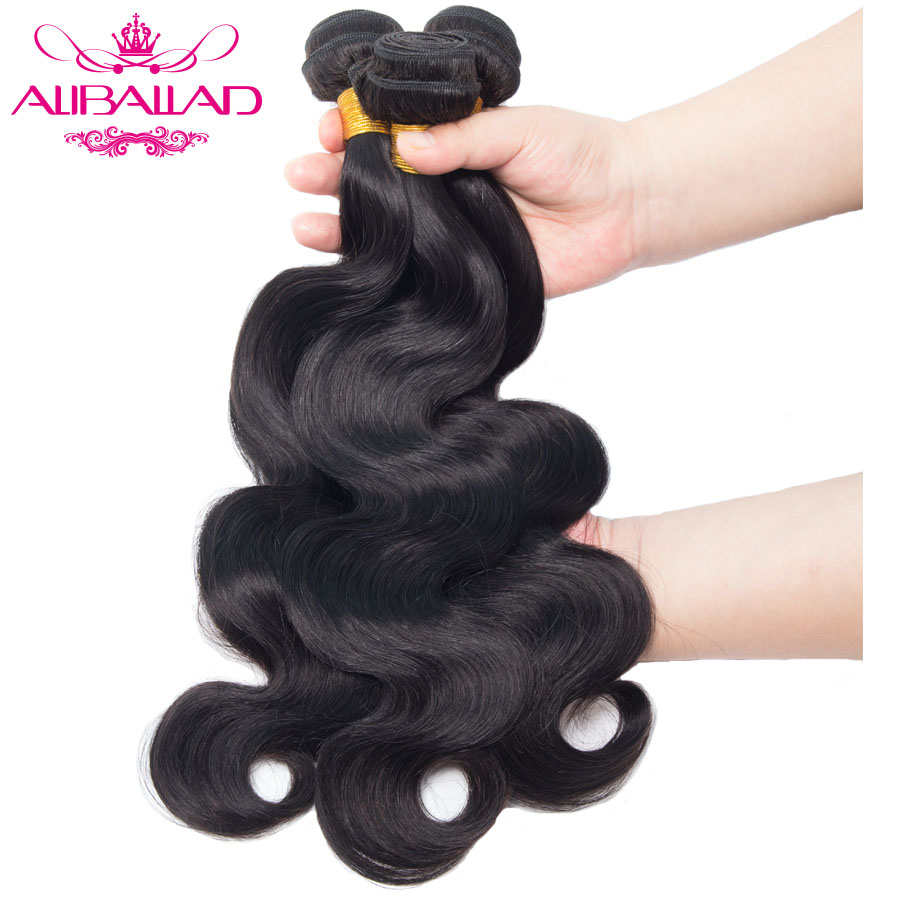 Aliballad Brazilian Body Wave Human Hair Bundles 8 To 28inch Natural Color Weave Non-Remy Hair Extensions Can Buy 3 Or 4 Bundle
