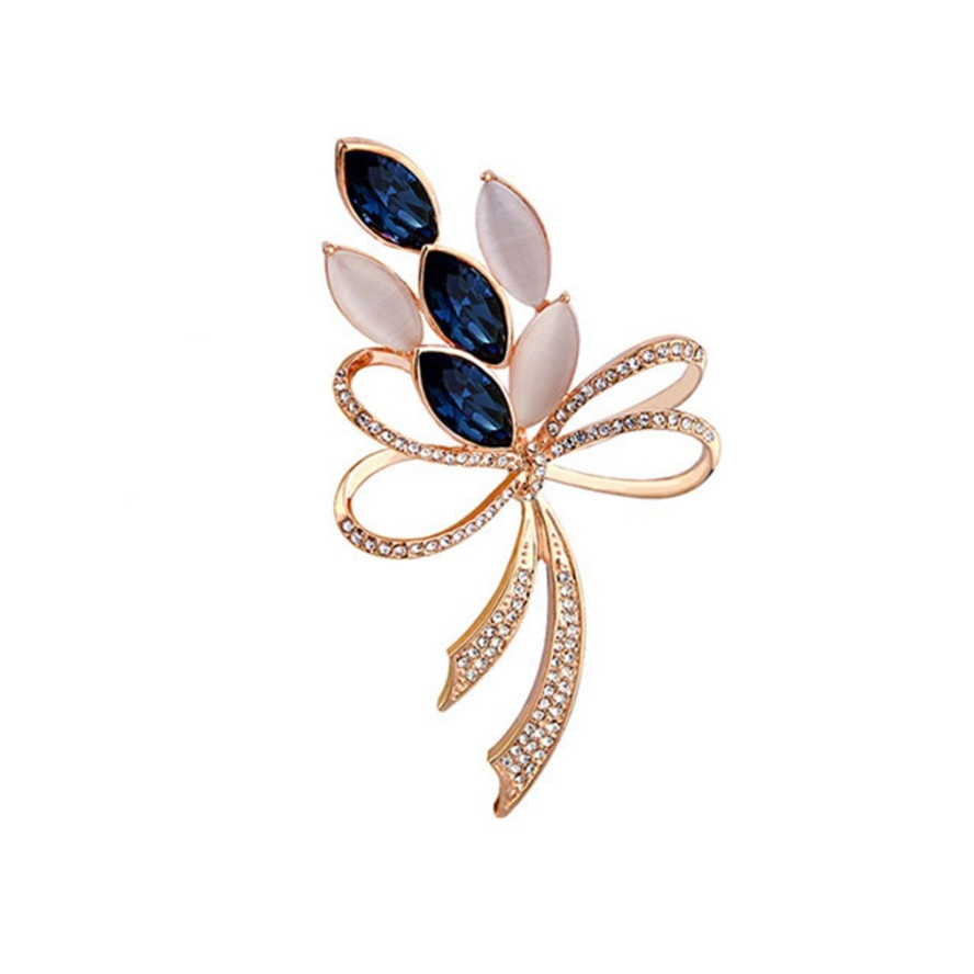 Rhinestone crystal flower brooch safety pin jewelry fashion womens broches bow crystal brooches for women trending products 2018