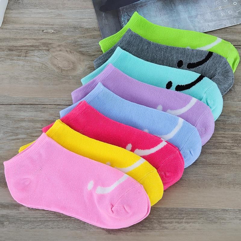 1 Pair Women Socks High Quality Low Cut Ankle Socks Women's Smile Face Socks Casual Soft Boat Socks Breathable Footwear D0365