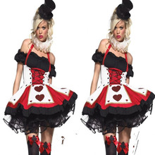Hot Sales Poker Red Hearts Princess Costumes Sexy Cosplay Halloween Women  Erotic Dresses Dress 66362a950d3c