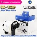 10 рулонов совместимый DK-11209 этикетка 62 мм * 29 мм совместимый для принтера Brother этикетки все поставляются с пластиковым держателем 800 шт/рулон