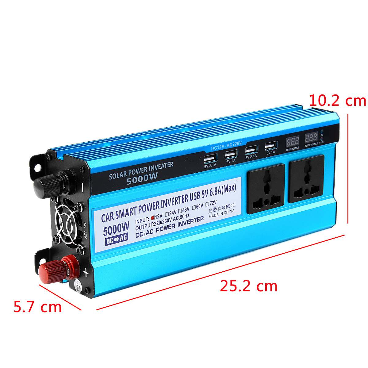 Image 4 - Solar Inverter DC 12V 24V 48V to AC 220V 3000W 4000W 5000W Inverter Voltage Transformer Converter 4 USB LED Display for Car Home-in Inverters & Converters from Home Improvement