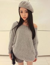 New winter dress long shoulder one word led long hair mink hair loose sweater turtleneck collar render unlined upper garment