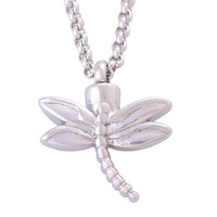 New Equisite Women S Stainless Steel Dragonfly Pendants Necklaces Cremation Jewelry Urns For Ashes Keepsakes Silver