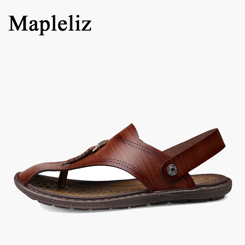 Mapleliz Brand Men Casual Sandals Sewing Handmade Genuine Leather Summer Classics Beach slippers High Quality Sandals for Men