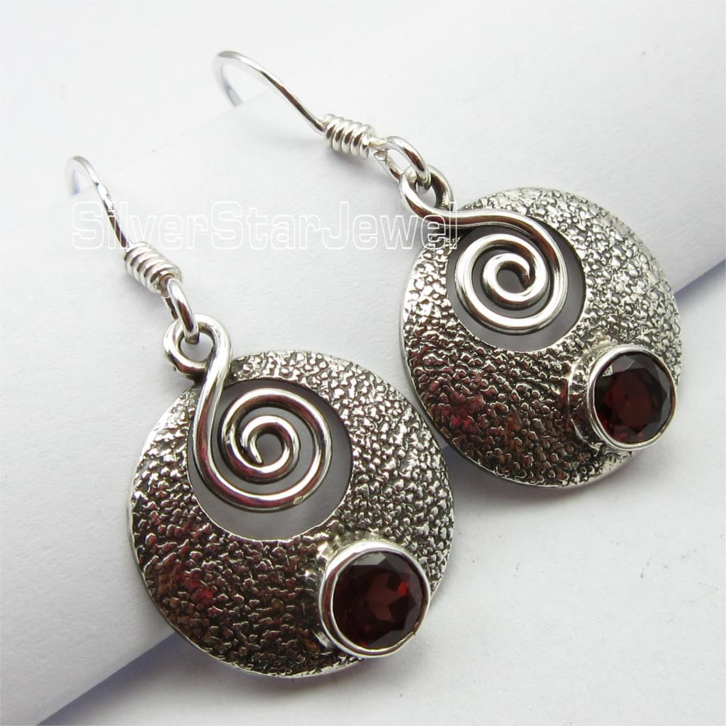Chanti International Pure Silver Authentic GARNET Gem GIRLS Earrings 3.2 CM DEAL OF THE DAY