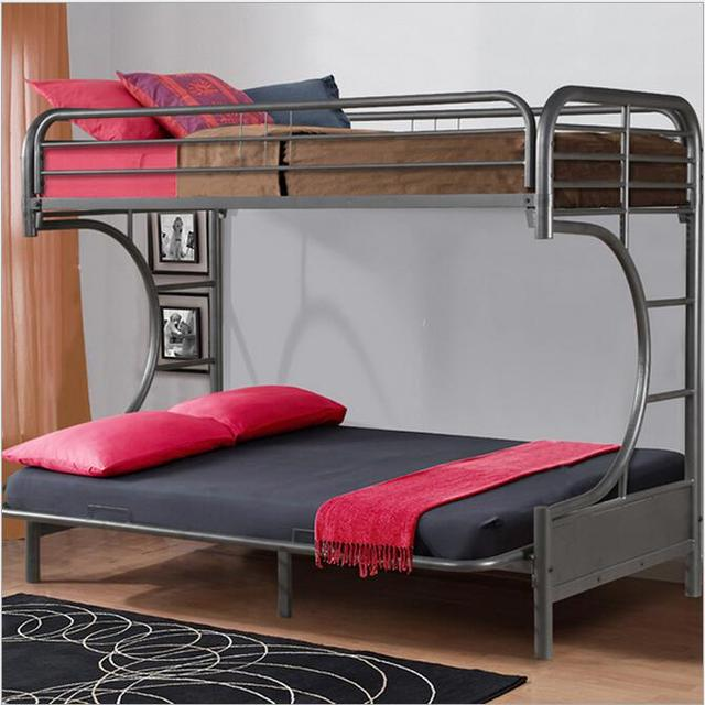 Bunk Bed For Kids Double Steel Black Bed Children Household Steel