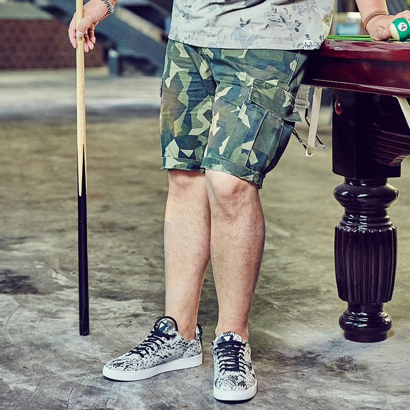 Drizzte Mens Cargo Shorts Plus Size 36-48 Korean Stylish Camouflage Printed Mens Camo Shorts Summer Large Big Tall Man