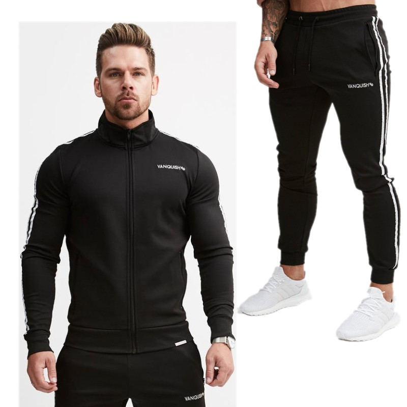 2018 Men's Set Fashion Spring 2 Piece Sporting Suit Jacket+Pant Sweatsuit Clothing Tracksuit Sweatshirt Sportswear Drop Shipping