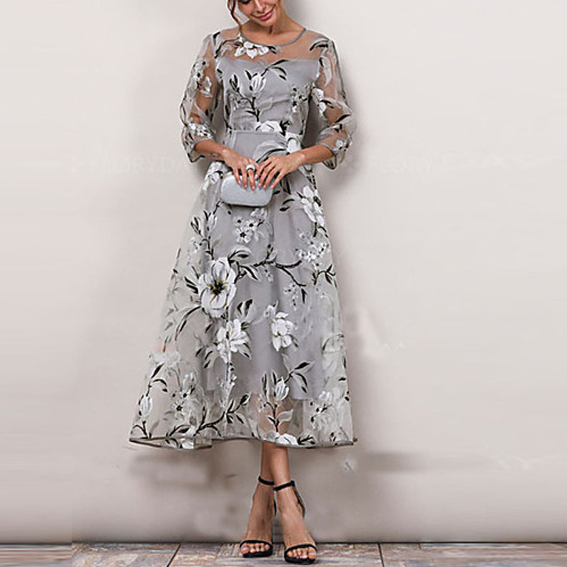 Korean Casual Print Women Dress Bohemian Ladies Flare Three Quarter Sleeves Tea-length O-neck Dresses Women Organza Tulle Dress