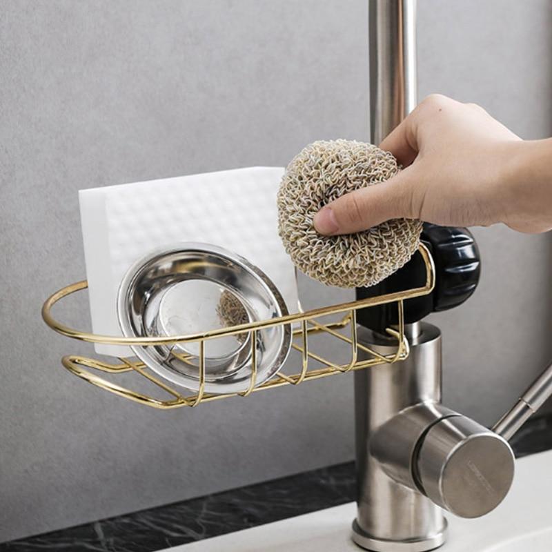 1 Pcs Kitchen Faucet Sponge Holder Rack Stainless Steel Sink Hanging Storage Bathroom
