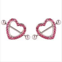 1 piece stainless steel heart nipple piercing rings women nipple sexy crystal nipple piercing bar women body Piercing jewelry