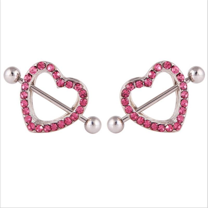1 piece stainless steel heart nipple piercing rings women nipple sexy crystal nipple piercing bar women