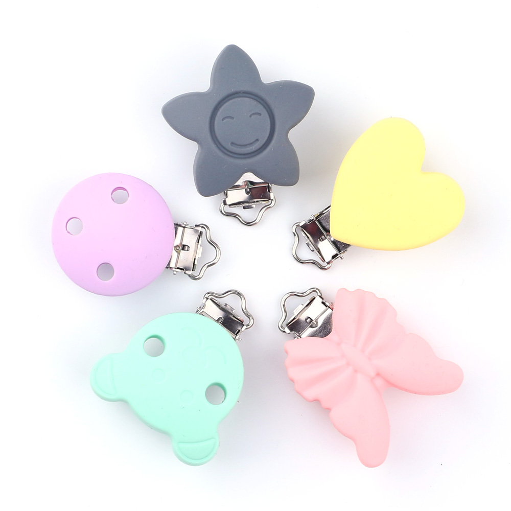 1pc Bpa Free Round Shaped Baby Silicone Pacifier Clips Dummy Teether Chain Holder Clips Diy Pacifier Chain Tool Toy Accessories Nipple & Accessories