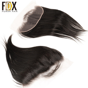 Image 1 - FDX Indian Hair Lace Frontal Closure 13x4 Swiss Lace With Baby Hair Natural Human Hair 8 10 12 14 16 18 20 Inches remy straight