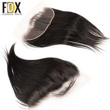 FDX indyjski włosy koronki Frontal zamknięcie 13x4 szwajcarski koronki z dzieckiem włosy naturalne ludzkie włosy 8 10 12 14 16 18 20 cali remy proste włosy