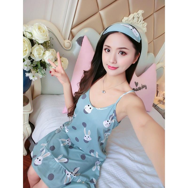 2019 Ablithe Sleeveless Sleepwear Sexy Lingerie Pijamas Female   Nightgowns   Cotton   Sleepshirts   Nightdress Women Nighties Summer