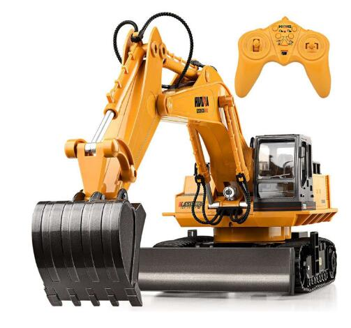 Huina 510 RC Excavator Car 2.4G 11CH Metal Remote Control Engineering Digger Truck Model Electronic Heavy Machinery Toy For Kids