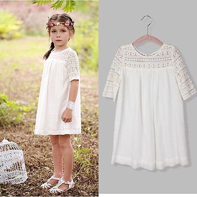 Casual Baby Girls White Lace Crochet Floral Party Dress Gown Formal Dresses 2-9Y 2016 new kids baby girls white chic fairy lace floral party solid gown fancy dresses baby summer casual dress clothes