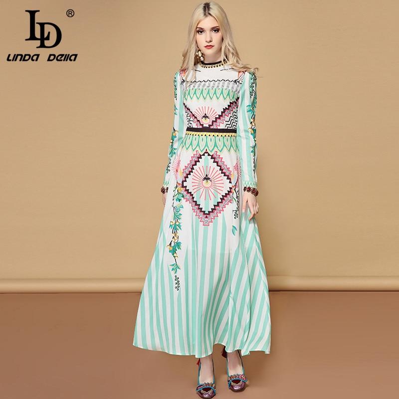 LD LINDA DELLA 2019 wiosna na co dzień wakacje z długim rękawem sukienka w dużym rozmiarze damska urocze szyfonu drukowane wakacje Boho długa sukienka w Suknie od Odzież damska na  Grupa 2