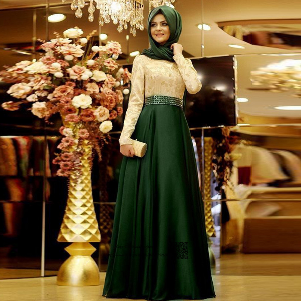 0542f662d05 Long Formal Muslim Evening Dress Hijab Islamic Dubai Abaya Kaftan Moroccan  Bow Long Sleeve Evening Gowns Prom Dresses Headscarf