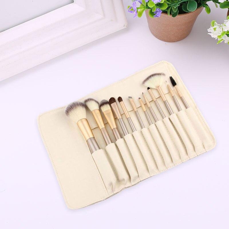 12Pcs/Bag Cosmetic Brush White Hair Makeup Tool Women Powder Fundation Eyeliner bob cosmetic makeup powder w puff mirror ivory white 02