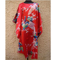 Free Shipping Red Chinese Women's Faux Silk Bathrobe Vintage Kimono Gown Casual Nightdress Sexy Soft Sleepwear One Size  NS0057