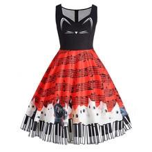 Летние музыкальная нота сарафан аниме кошка печати Винтаж платье Для женщин осенняя пикантная праздничная одежда роковой красный плюс Размеры 5XL платье EY11