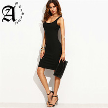 Ameision New Casual Sleeveless Dress Black Ladies Summer Style Fitness Women Sexy Bodycon Knee Length Dresses цена