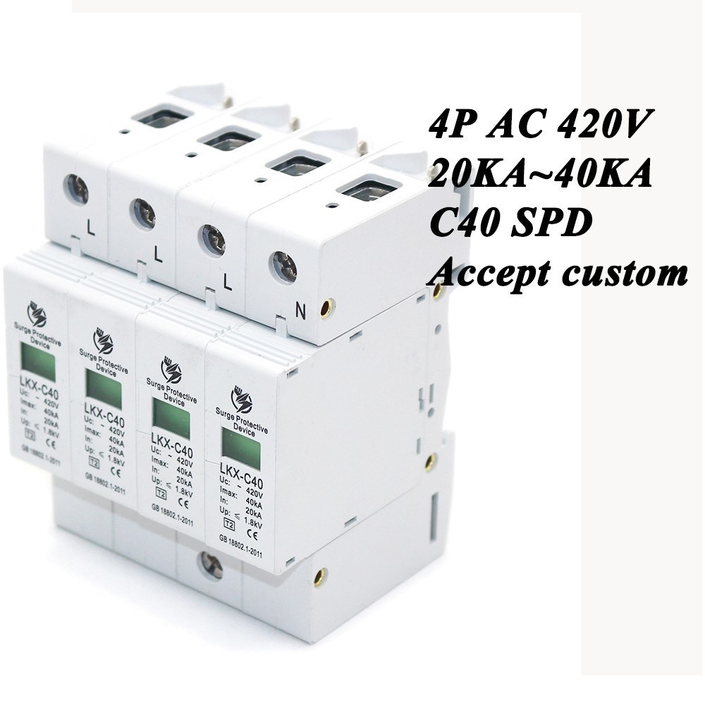 Hot sale C40-4P 20KA~40KA ~420V AC SPD House Surge Protector Protective Low-voltage Arrester Device 3P+N Lightning protection 420vac spd 40 80ka 4p surge arrester protection device electric house surge protector lightning protection b