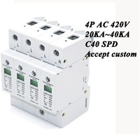 Hot sale C40-4P 20KA~40KA ~420V AC SPD House Surge Protector Protective Low-voltage Arrester Device 3P+N Lightning protection