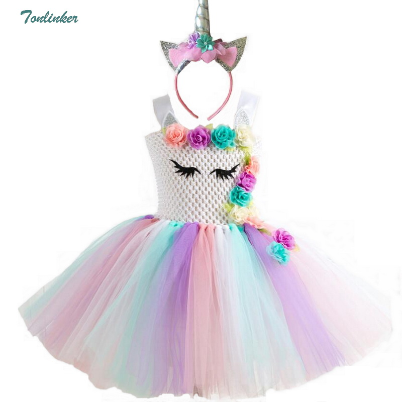 Image 2 - Rainbow Unicorn Costumes Pony Tutu Dress with Hair Band Princess Girls Party Dress Children Kids Halloween Unicorn Costume 2 10Y-in Girls Costumes from Novelty & Special Use