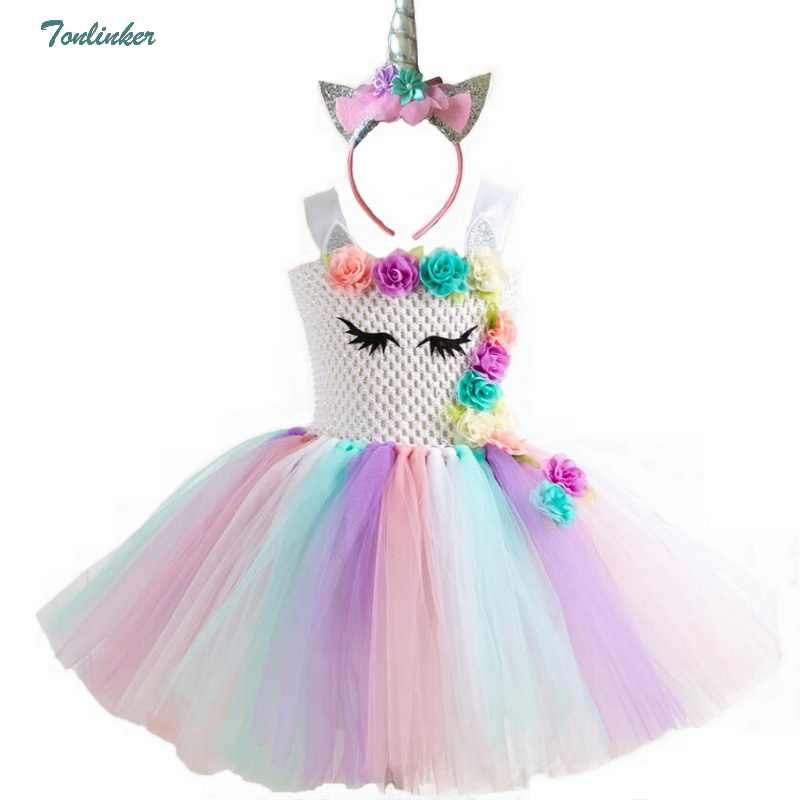 Rainbow Unicorn Pony Tutu Dress with Hair Hoop Princess Flower Girls Party  Dress Children Kids Halloween 6df5292bd65a