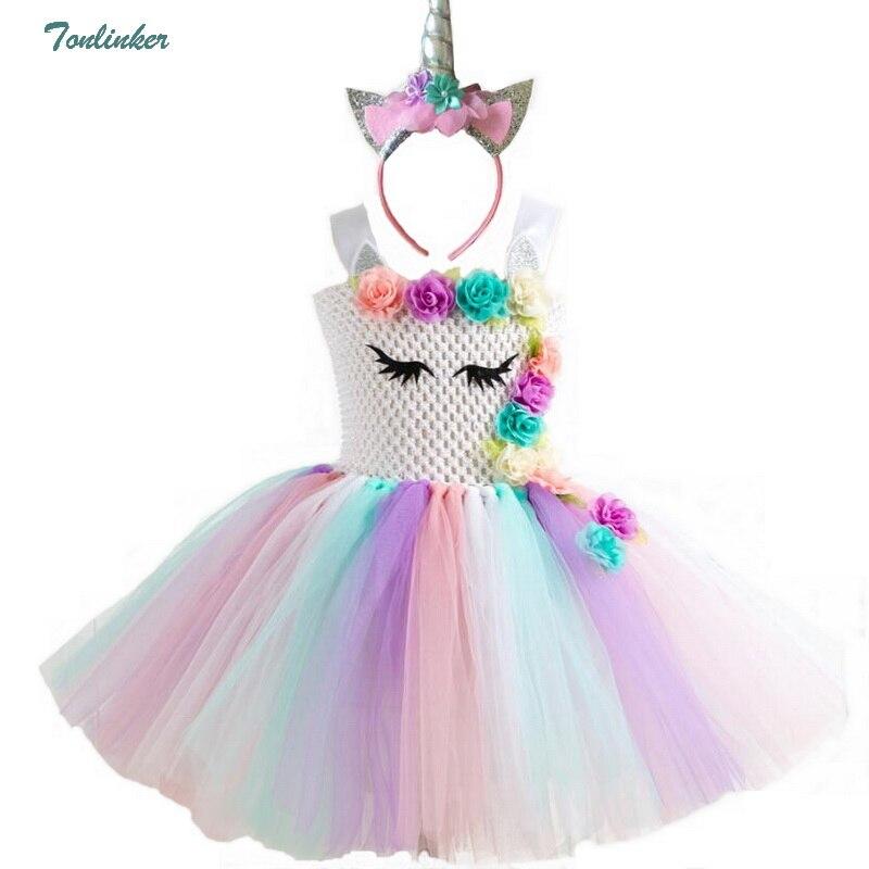 Regenbogen Einhorn Pony Tutu Kleid mit Haarband Prinzessin Blume Mädchen Party Kleid Kinder Kinder Halloween Einhorn Kostüm 2-10Y