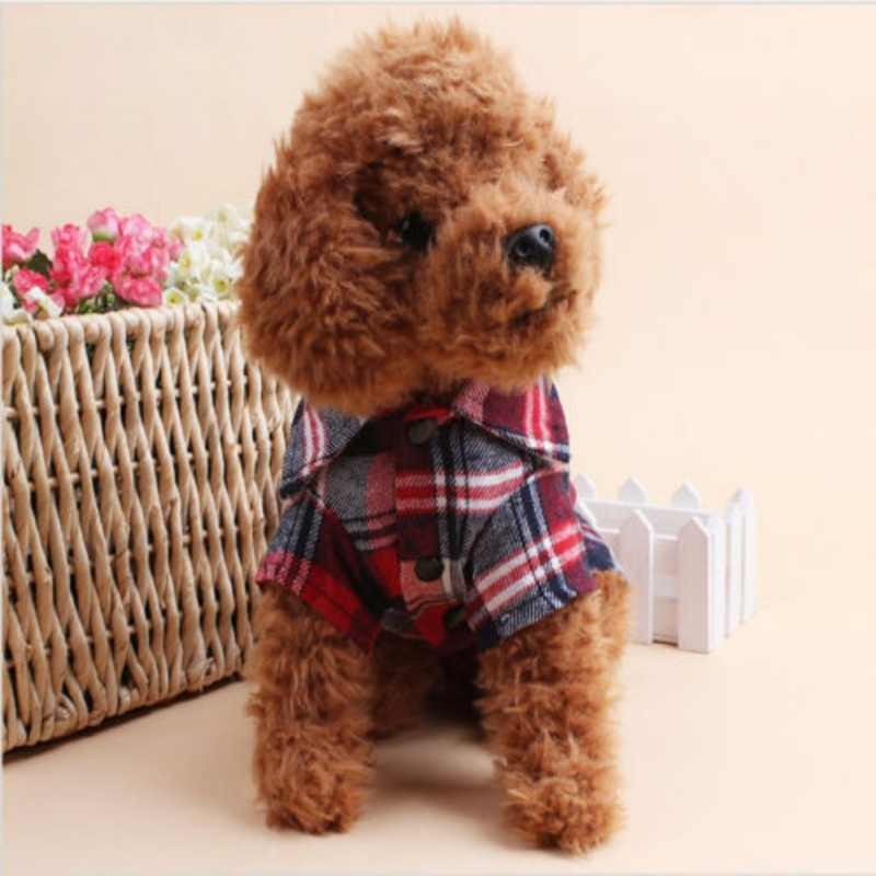 イングランドスタイル犬シャツチェック柄犬服ブラウスシャツ夏の秋ペット子犬犬猫服トップス