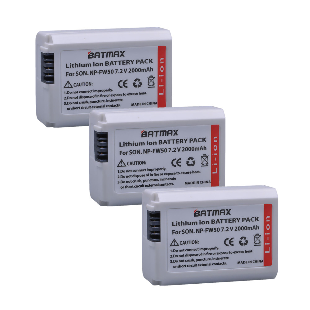 3pc 2000mAh NP-FW50 NP FW50 Battery batterie for Sony a37 a5100 NEX5T NEX5R X-7 NEX6 NEX-5N NEX5C NEX3N NEX3CV a33 a35 a37