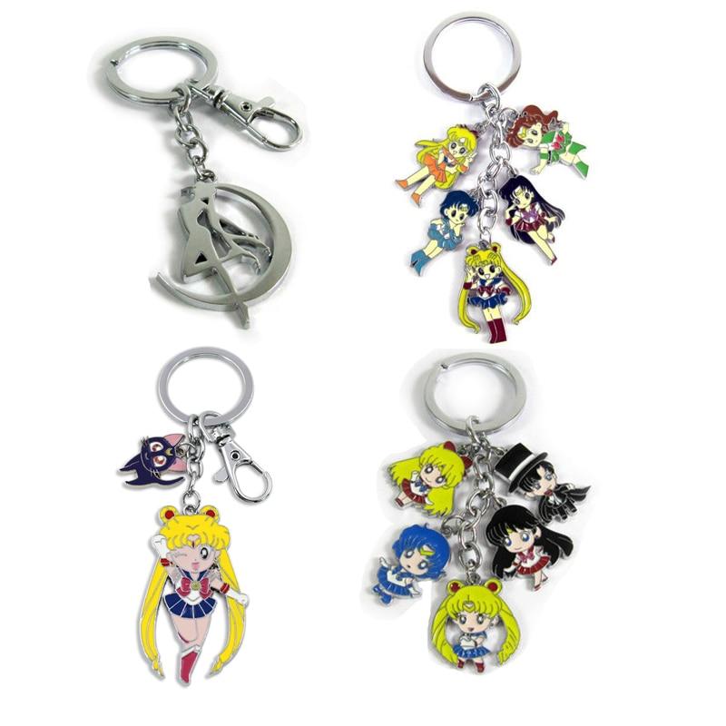 Sailor Moon Action Figure Toys Sailormoon Cat Alloy Model Keychain Pendant Cute Cartoon Keyring For Children Girls Gift
