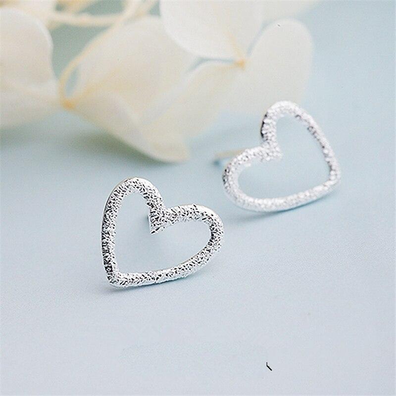 Female Heart Stud Earring 100% 925 Sterling Silver Earrings For Women Gift Sterling-silver-jewelry Pendientes Mujer