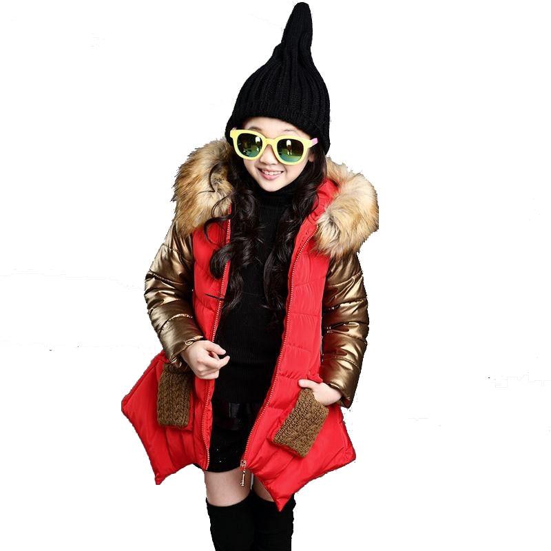 2018 Moda Kızlar Kış Ceket Yeni Marka Stil Uzun Kürk Kapşonlu - Çocuk Giyim - Fotoğraf 4