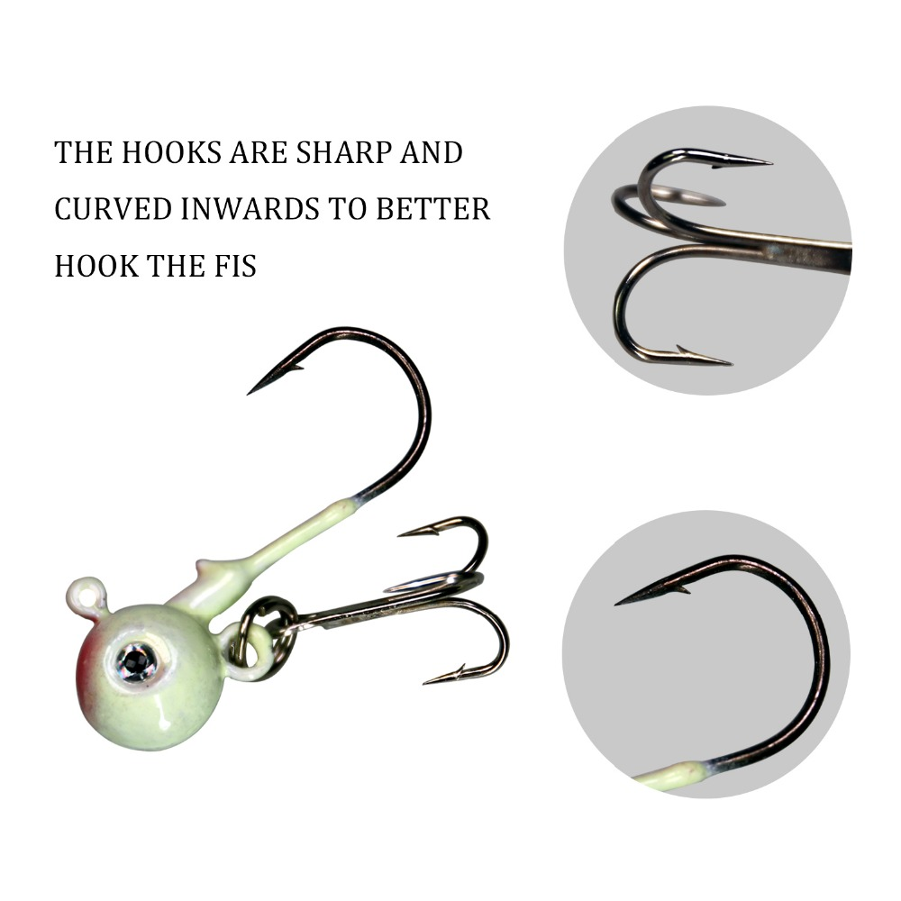1Pcs 4cm 11 5g Luminous Glow Jig Heads Fishing Hooks Freshwater Saltwater Lead Round Head Carbon Steel Treble Hooks in Fishhooks from Sports Entertainment