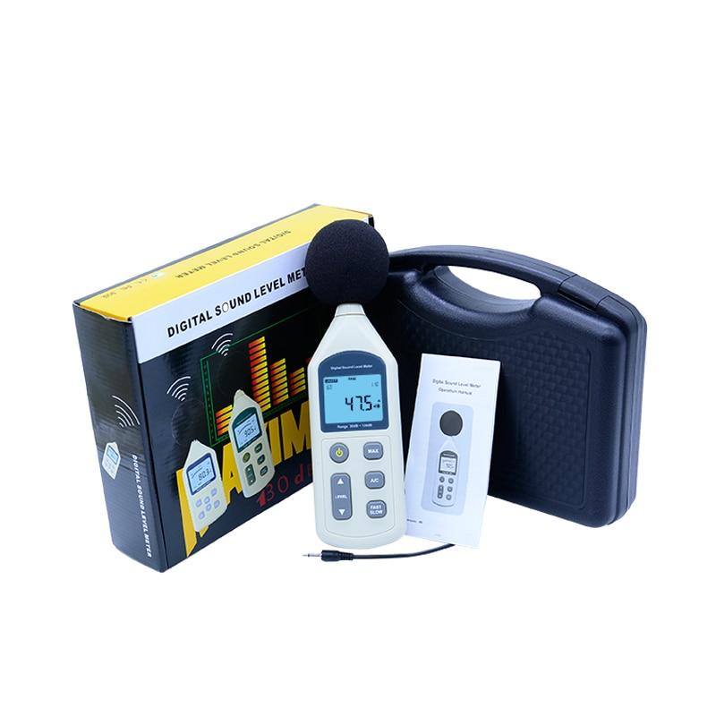 Free shipping GM1357 30-130dB Digital Sound Noise Level Meter LCD A/C FAST/SLOW dB screen digital display sound level meter usb gm1356 noise tester meter with noise value 30 130db a c fast slow db with box