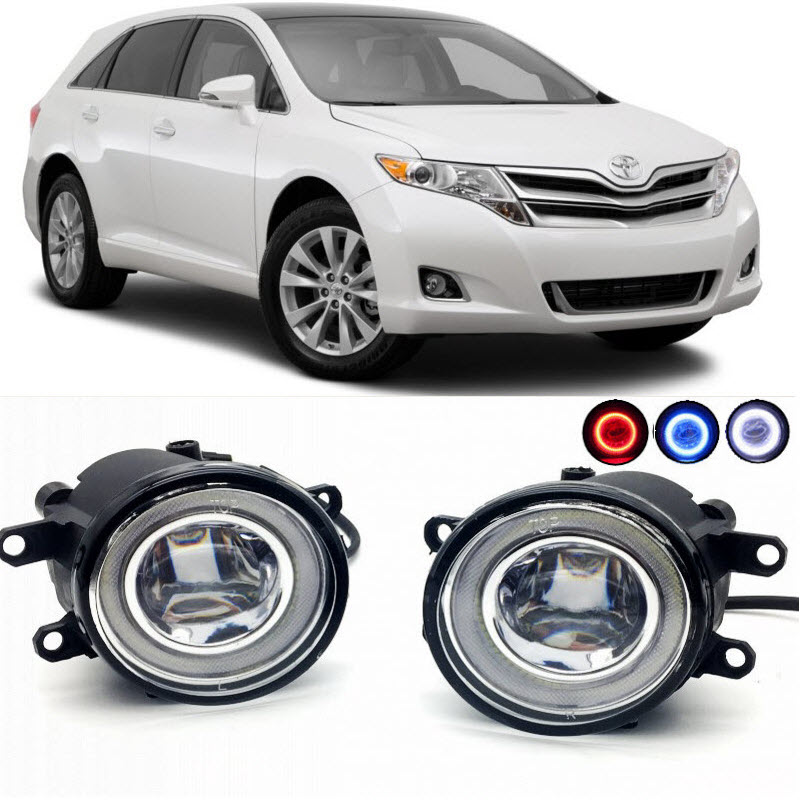 For Toyota Venza 2009-2015 2 in 1 LED Cut-Line Lens Fog Lights Lamp 3 Colors Angel Eyes DRL Daytime Running Lights car styling 2 in 1 led angel eyes drl daytime running lights cut line lens fog lamp for land rover freelander lr2 2007 2014
